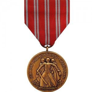 The Second Nicaraguan Campaign Medal - Navy is a decoration presented by the U.S. Navy to recognize members of the Navy and Marine Corps who served in naval operations in Nicaragua between the dates of August 27, 1926 and January 2, 1933. This medal should be distinguished from the First Nicaraguan Campaign Medal, which was awarded to Navy and Marine Corps members who served in Nicaragua between July 29 1912 and November 14, 1912.