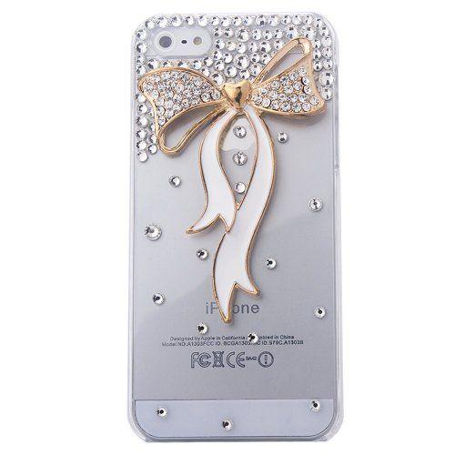 Yigoo Schutzhülle Apple iphone 5 5G 5S Case Tasche Cover Handytasche Hülle Strass Schleife Glitzer Perle Transparent (harte Rückseite) (Transparent-Weiß Lang)