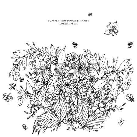 Векторная иллюстрация цветочные кадр, эскизное. Zenart, каракули, цветы, бабочки, нежная, красивая. Черное и белое. Взрослые раскраски Красящие антистрессовым. Иллюстрация