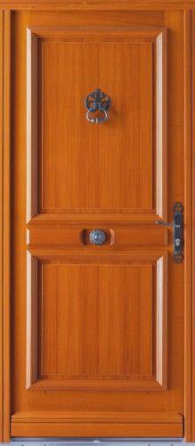 Porte bois, Porte entree, Bel'm, Classique, Poignee plaque rustique, Cache fiches + heurtoir + Bouton rustique, Sans vitrage, Avoriaz