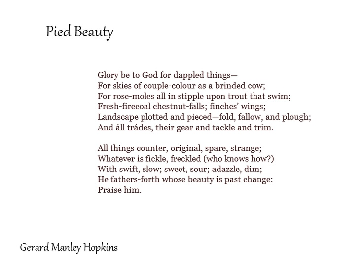 summary of the poem pied beauty Language and tone in pied beauty the poetic interest is in the vocabulary and diction of the poem compound adjectives / epithets the literary term for a compound.