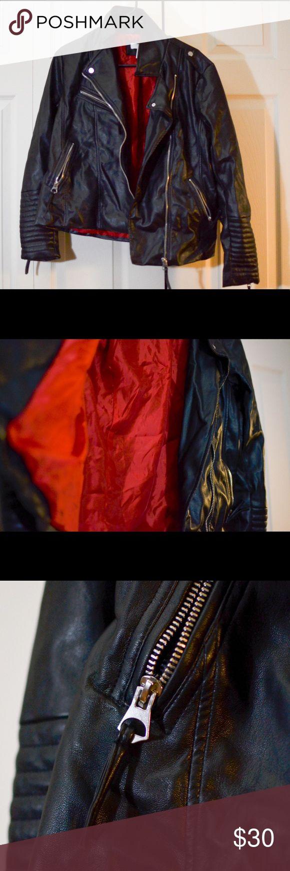 H&M Women's Faux Leather Jacket Black Biker jacket with