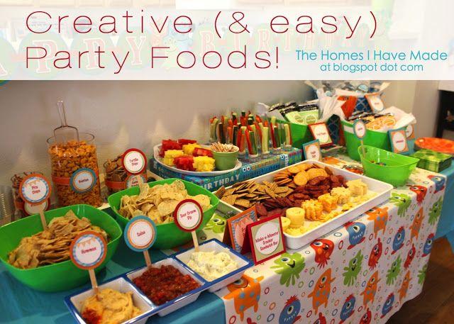 Monster party spotlight on food spotlight food tables - Kids party food table ideas ...