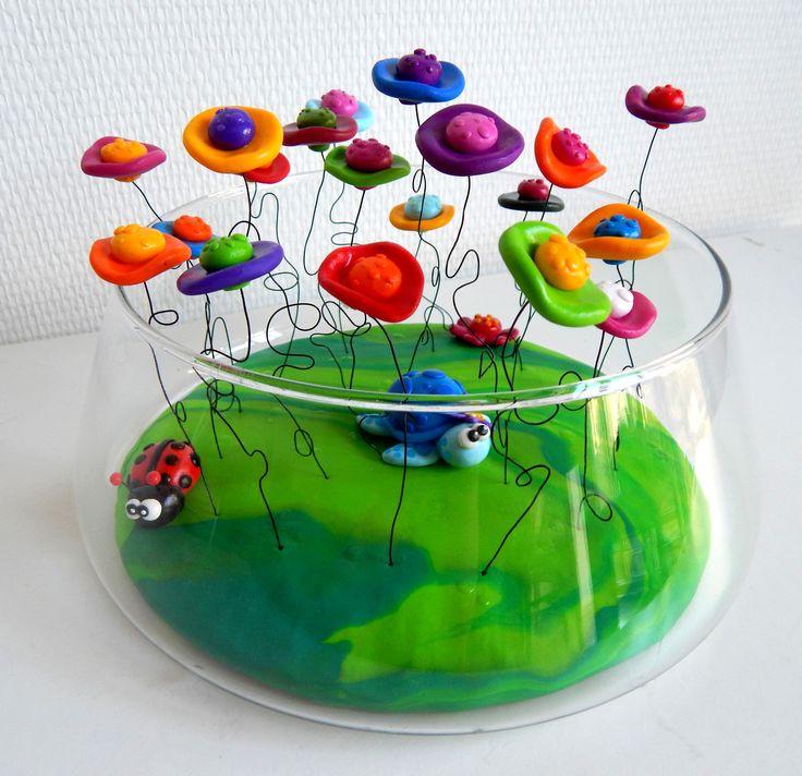 composition florale color e et moderne en fimo bouquet. Black Bedroom Furniture Sets. Home Design Ideas