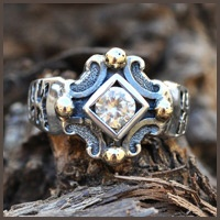 Medieval Gold & oxidized silver ring