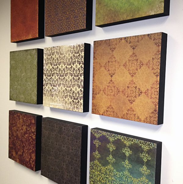 Wall-Art using Scrapbook paper and wooden blocks or canvases