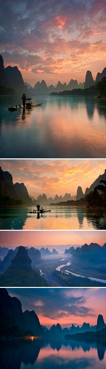 Gui Lin China...Cruising down this river and watching the Cormorant Fishermen was indeed an amazing travel highlight for me...Such an 'out of this world' experience. Magical mountainous scenery. Mystical and eery.