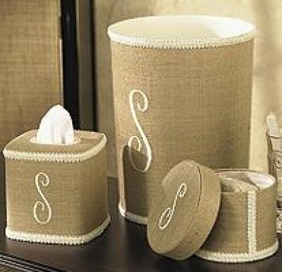 Monogrammed Linen Waste Basket from The Monogram Merchant