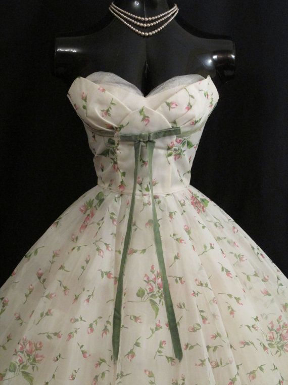 Vintage 1950's 50s STRAPLESS Lorrie Deb White Pink Floral Print Chiffon Organza Velvet Bow Party Prom Wedding DRESS