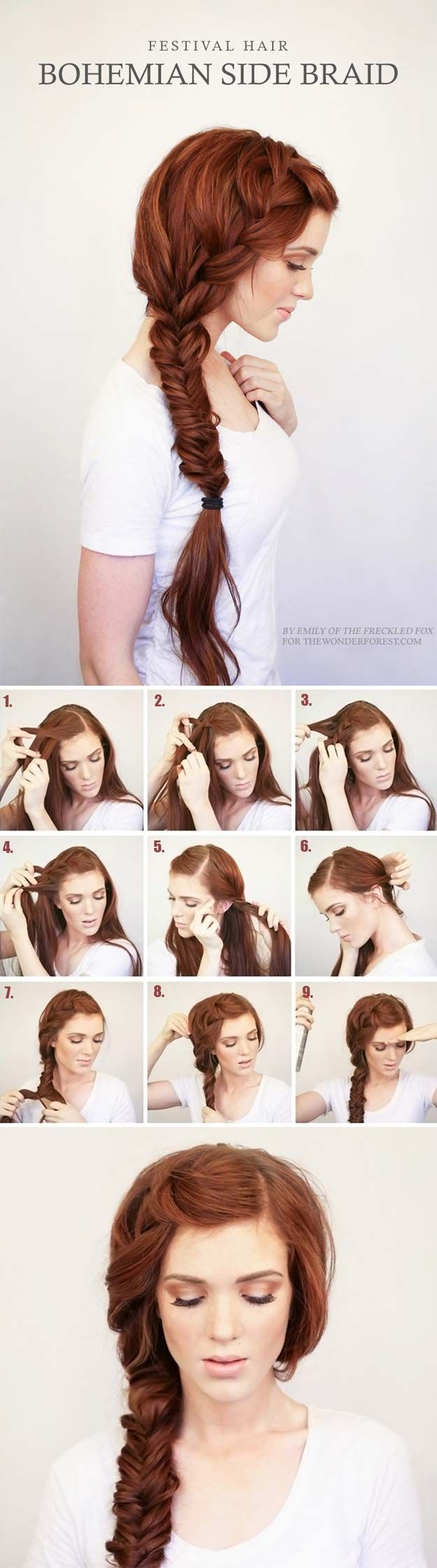 Best Hair Braiding Tutorials - Bohemian Side Braid Festival Hair Tutorial - Easy Step by Step Tutorials for Braids - How To Braid Fishtail, French Braids, Flower Crown, Side Braids, Cornrows, Updos - Cool Braided Hairstyles for Girls, Teens and Women - School, Day and Evening, Boho, Casual and Formal Looks http://diyprojectsforteens.com/hair-braiding-tutorials
