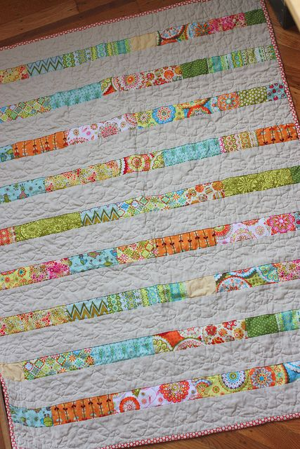 Would make a cute baby quilt!: Scrap Quilts, Quilts Patterns, Easy Stripes Simple Quilts, Quilts Inspiration, Baby Quilts, Scrap Fabrics Quilts, Jelly Rolls, Quilts Ideas, Bright Colors