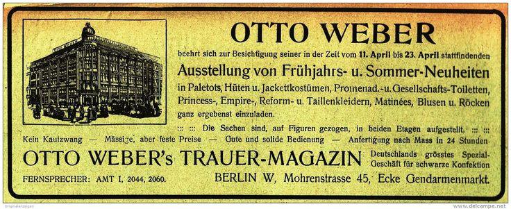 Original-Werbung/Anzeige 1910 - OTTO WEBER'S TRAUER - MAGAZIN - BERLIN - ca. 180 x 65 mm