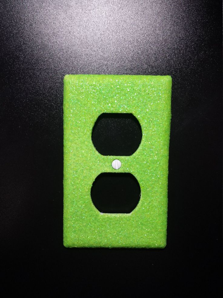 sparkly iridescent neon lime green glitter decorative bling light switch plates covers outlet plugs - Decorative Outlet Covers