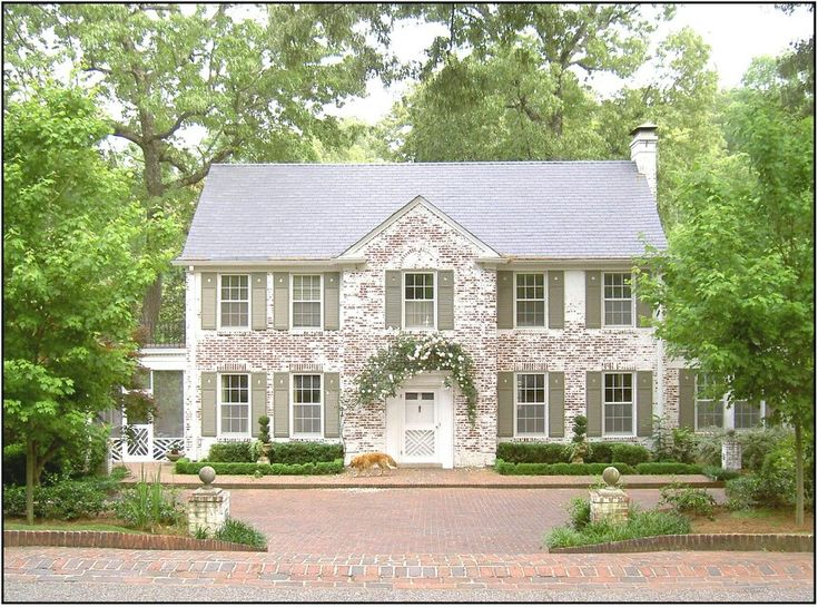 Whitewashed Brick And Green Shutters House Plans And