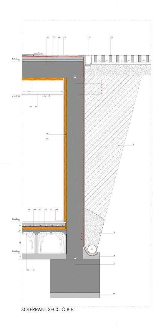 Detalle de muro de contención subterráneo