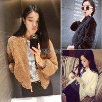 New Winter Women's Faux Fur Baseball Uniform Lady Long Sleeve Short Coat Fashion Women Coat