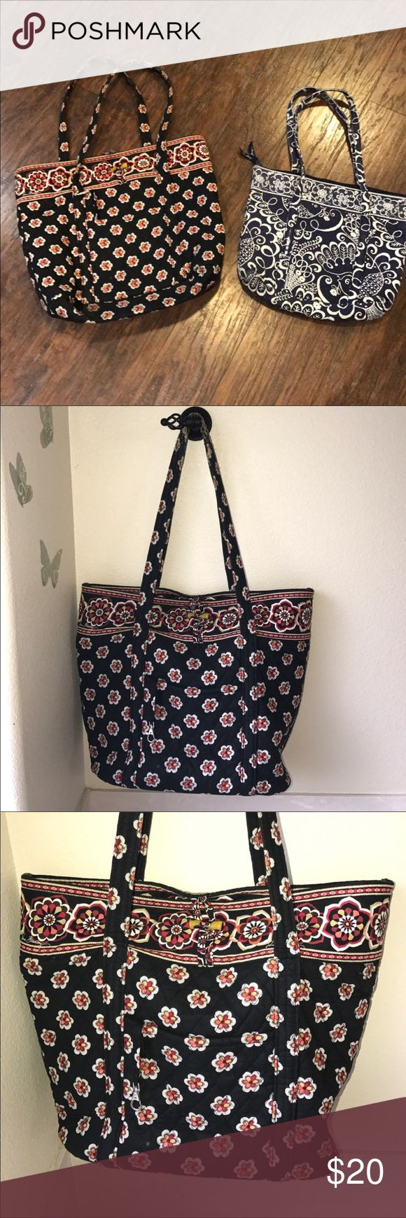 """Lot 2 Vera Bradley tote bags Lot Vera Bradley print tote bags Large black print tote bag has moderate wear on handle straps has some marks measures 18"""" long 14.5"""" tall. 6"""" wide strap drop 12.5"""" Blue tote has some wear on corners & rim areas measures 14.5 inches long 12"""" tall 3"""" wide strap drop 11.5"""" loved condition sold as is Vera Bradley Bags Totes"""