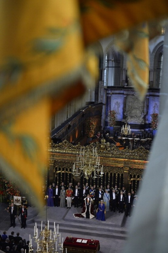 General view of the inauguration ceremony for King Willem-Alexander of the Netherlands at Nieuwe Kerk (New Church) in Amsterdam on 30 April 2013