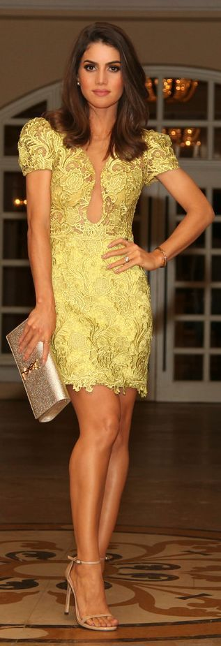 Yellow Lace Dress, Gold Clutch