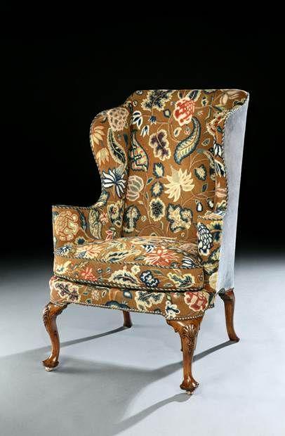 A QUEEN ANNE WALNUT WING CHAIR - English Antique Furniture – Ronald Phillips Antique Dealer...
