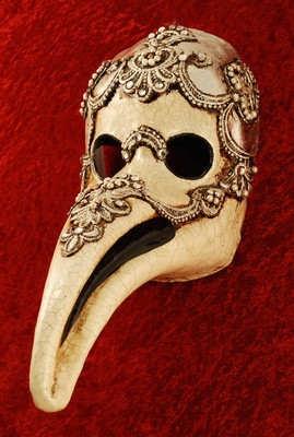 Venetian macramé Plague doctor mask in antique silver £99.99