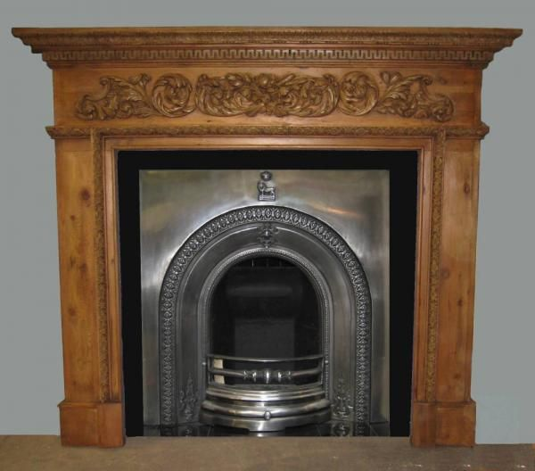 Reproduction Georgian Fireplaces Part - 42: Georgian Style Carved Reproduction Pine Surround