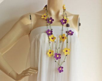 Daisy Necklace-Purple and Yellow Necklace-Crochet Beaded Necklace-Turkish Oya necklace-Lariat Necklace with Amethyst Stones