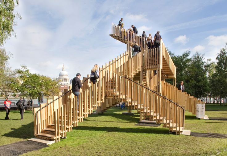 Designed by de Rijke Marsh Morgan Architects (dRMM) and engineered by Arup, Endless Stair is both a sculpture and research project advancing the knowledge of timber technology and sustainability.
