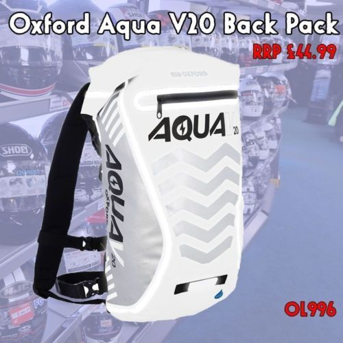 Oxford-White-Aqua-V20-Bag-Motorcycle-Cycling-Waterproof-All-Weather-Back-Pack