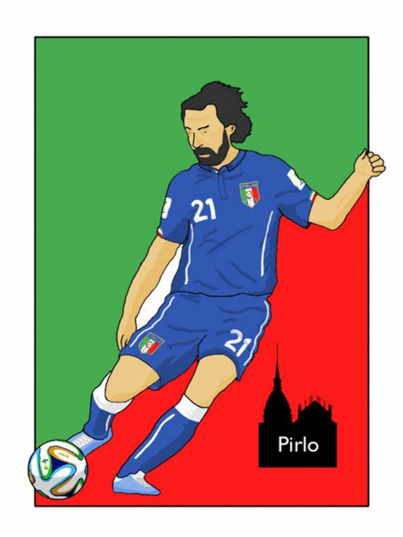 This listing is for a 16 x 12 print of my Andrea Pirlo Italy artwork. Printed on a quality matt photo paper, this is perfect for framing.    16 x
