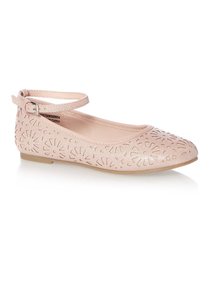 Add a pop of pink to your little one's party looks this season. With laser cut detailing and buckle fastening, these pretty little shoes are perfect for any special occasion. Girls pink laser cut ballerina shoes Laser cut detailing Buckle fastening Grip sole Keep away from fire