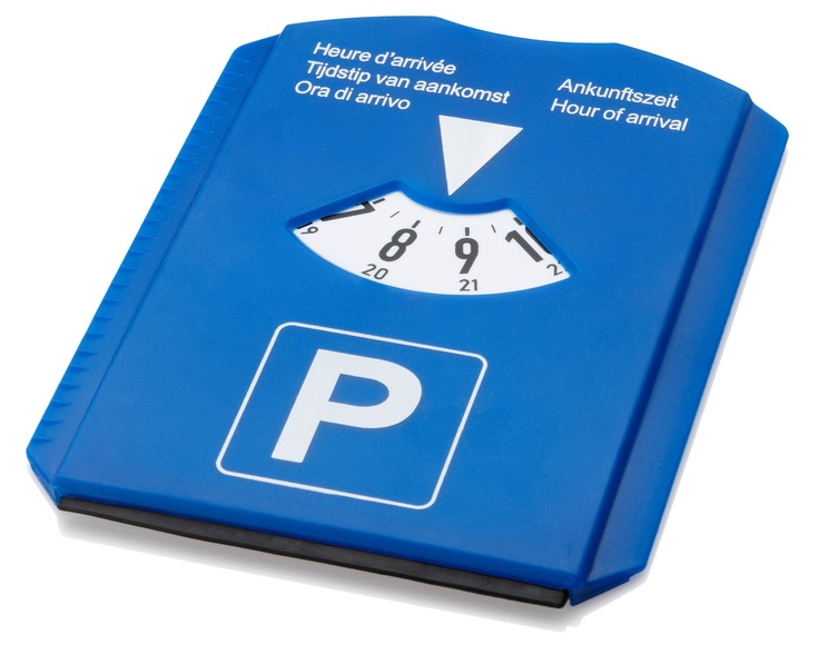 """#PROMOTIONAL GIFT - 5 in 1 Parking Disk. Parking disk with an ice scraper, rubber wiper, trolley coin and tire tread depth gauge. Disk has a large white logo area on the back. """"Hour Of Arrival"""" text on disk cover listed in Dutch, English, French, German & Italian."""