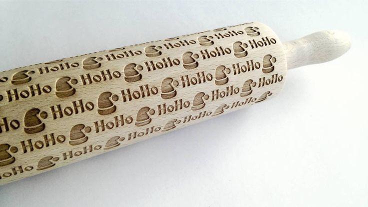 Weiteres - Nudelholz mit HO HO Santa Claus Hut Muster - ein Designerstück von MeisterAlgis bei DaWanda
