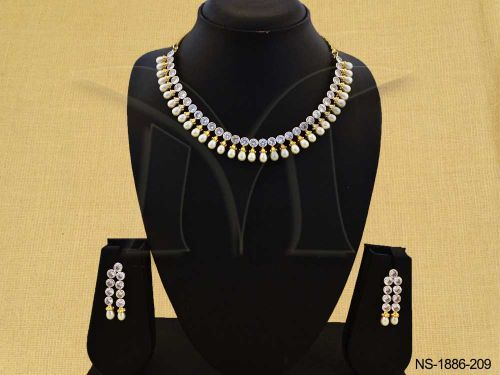 NS-1886-209 || MOTI DROP CHAINED PARTY WEAR AD NECKLace set