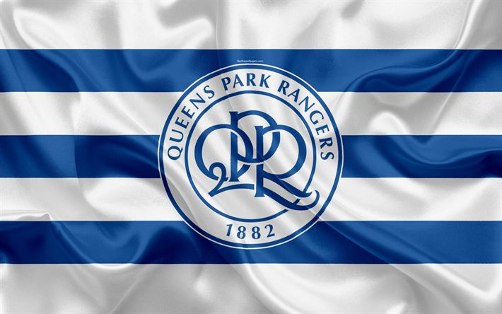 Download wallpapers Queens Park Rangers FC, QPR, silk flag, emblem, logo, 4k, Fulham, London, UK, English football club, Football League Championship, Second League, football