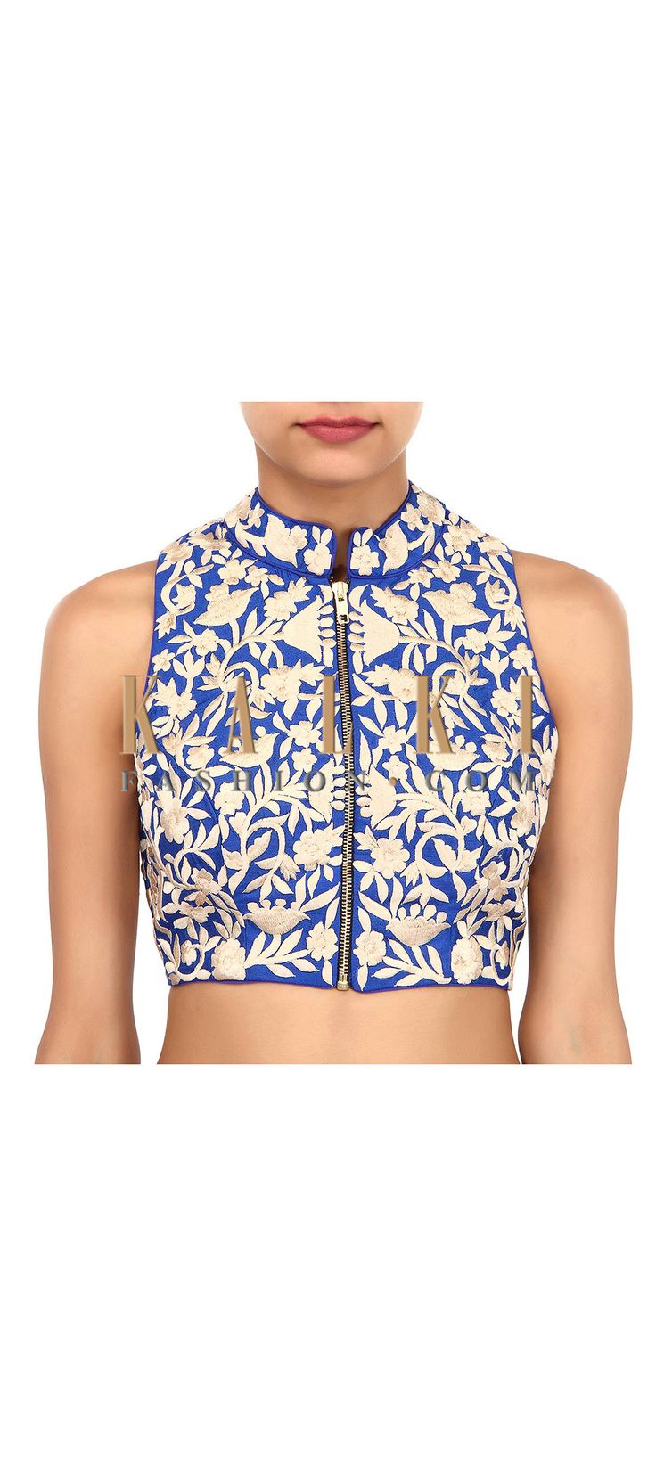 Buy Online from the link below. We ship worldwide (Free Shipping over US$100). Product SKU - 304454. Product Link - http://www.kalkifashion.com/blue-blouse-adorn-in-thread-embroidery-only-on-kalki.html