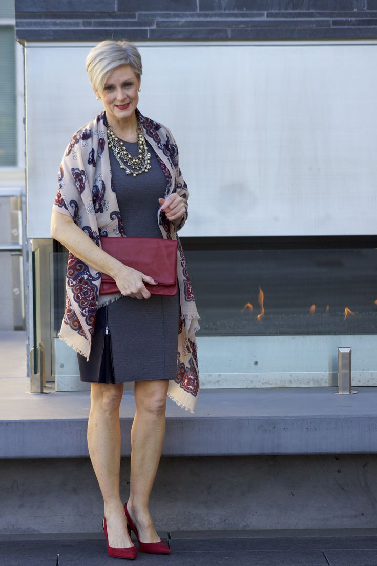 A way to wear my brown dress: big necklace, wrap, cute shoes and matching bag.