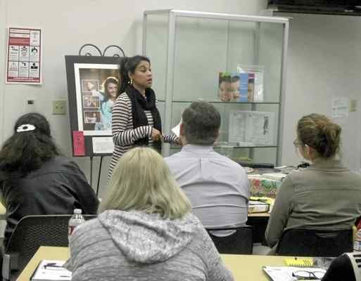 Josie Feemster spoke about her experiences in the life of sex trafficking at Woodland Community College Wednesday night.