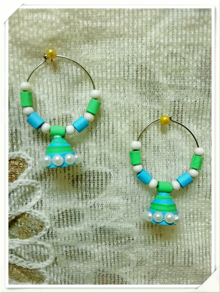 BLUE AND GREEN PAPER QUILLING EARRING From www.craftsvilla.com
