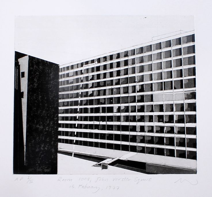 Room 1008 (2014). Hardground etching and chine colle