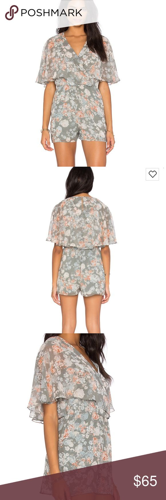 BCBGeneration Floral Romper in Slate Multi Worn once to brunch, in like new condition. Purchased from Revolve Clothing. No trades. BCBGeneration Pants Jumpsuits & Rompers