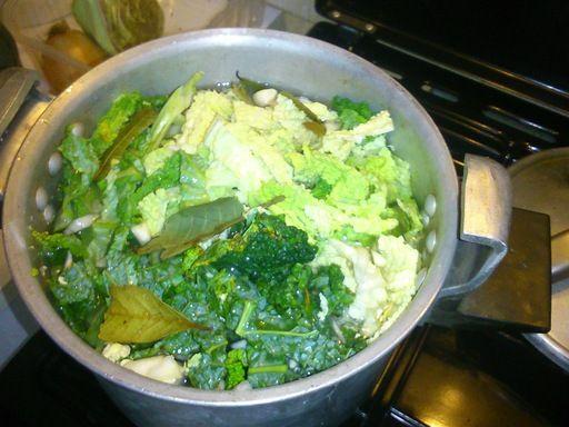 Soupe hivernale : chou vert frisé + pommes de terre + carottes