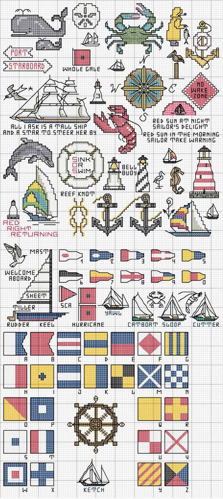 Schema Punto Croce Simboli Marini