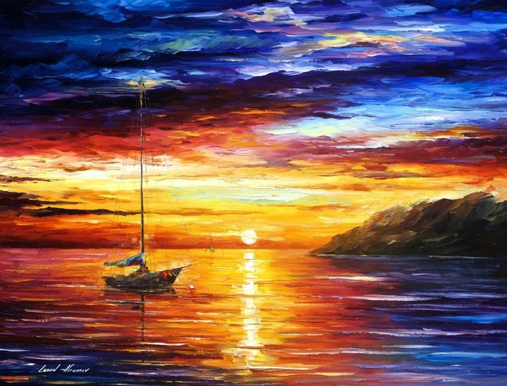 Resting By The Hill U2014 Extra Large Seascape Sunset Bedroom Decor Palette  Knife Oil Painting On Canvas By Leonid Afremov.