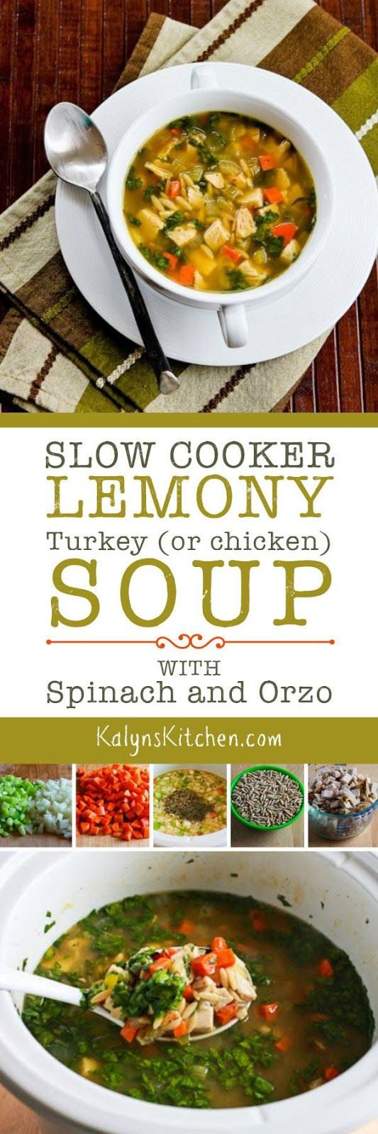 Slow Cooker Lemony Turkey Soup with Spinach and Orzo is am amazing idea for leftover turkey, or make this tasty soup with chicken if you prefer. This recipe is low-glycemic, South Beach Diet friendly, dairy-free, and easy to make, use less orzo or cauilflower rice if you want a soup that's even lower in carbs. [found on KalynsKitchen.com]