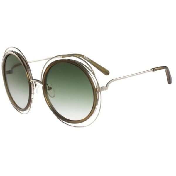 Chloe 79s Gold Frame Sunglasses : Pre-owned Chloe Carlina Round Wire-frame Sunglasses Gold ...
