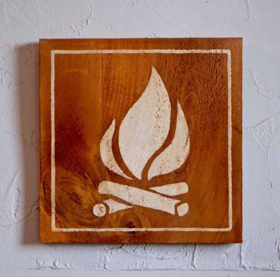 Fire Symbol Hand Painted Wood Sign, camping, fire symbol, fire indication, camp…
