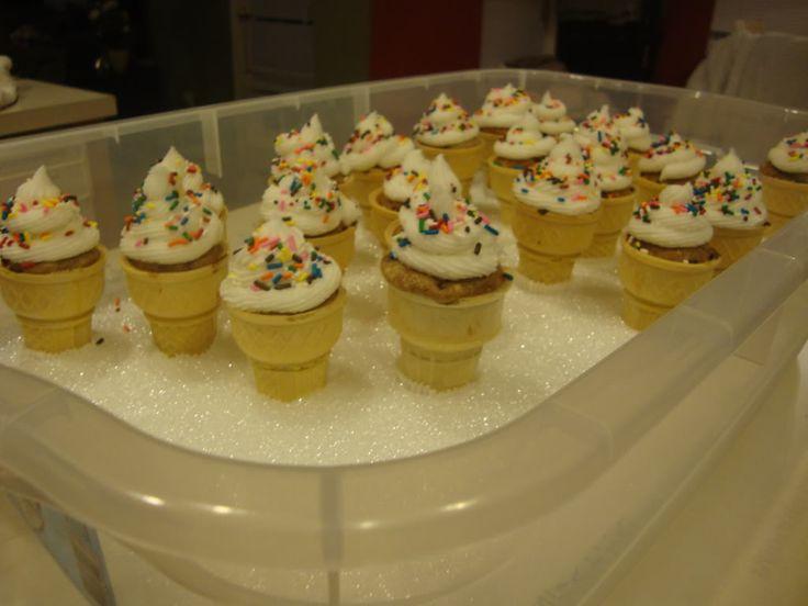 How do you transport the ice cream cone cupcakes? use sytrofoam/hielo ...