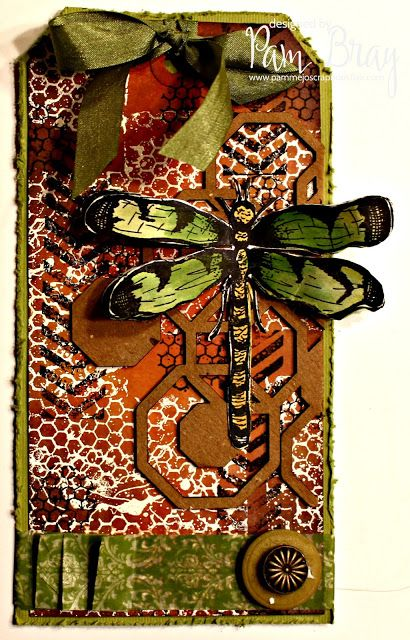 Dragonfly Mixed Media Tag with Sin City Stamps