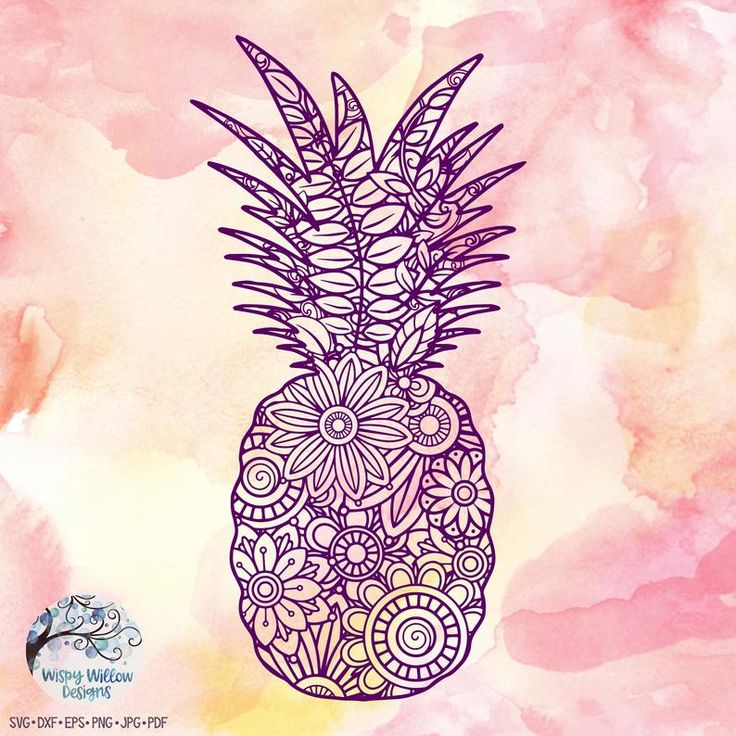 Pineapple Zentangle SVG DXF pdf png jpeg Digital Etsy in